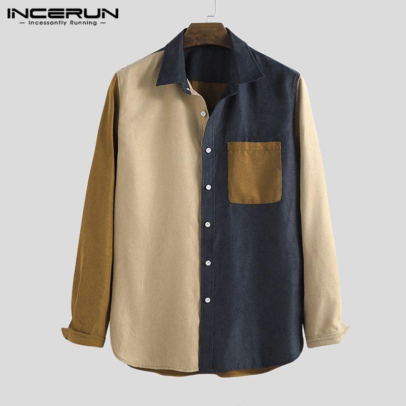 Mode Corduroy Patchwork Hommes Chemise à manches longues poches 2020 Streetwear chic personnalité Chemises hommes Marque Camisas Hombre Y200408