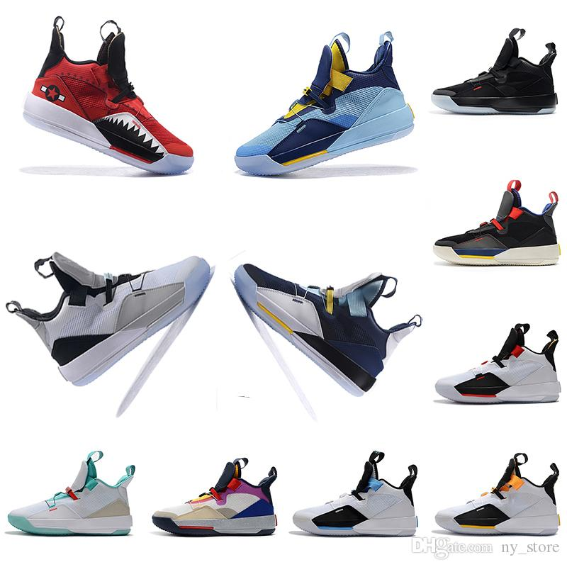 Kutu ile Erkek Basketbol Ayakkabı XXXIII PF 33 Uçuş Faydası Blackout Tech Paketi 33 Gelecek Siyah Koyu Duman Gri Yelken sneakers