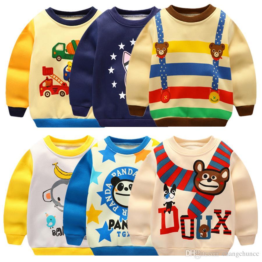 Fashion 14 designs kids sweatshirts multicolor children clothing autumn long sleeve infant`s wear velvet T-shirts