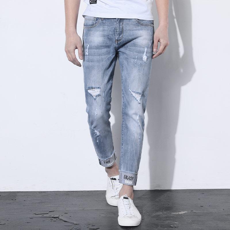calças de vaqueiro populares buraco reta logotipo 2020 verão de verão fina ultra-fina elástica cultivar a moralidade e os pés dos homens nove