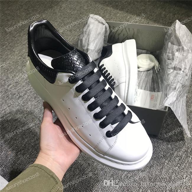 2019 أحذية رجل إمرأة جلد الثعبان جلد منصة Chaussures جميل منصة احذية عادية أحذية جلدية الصلبة الألوان