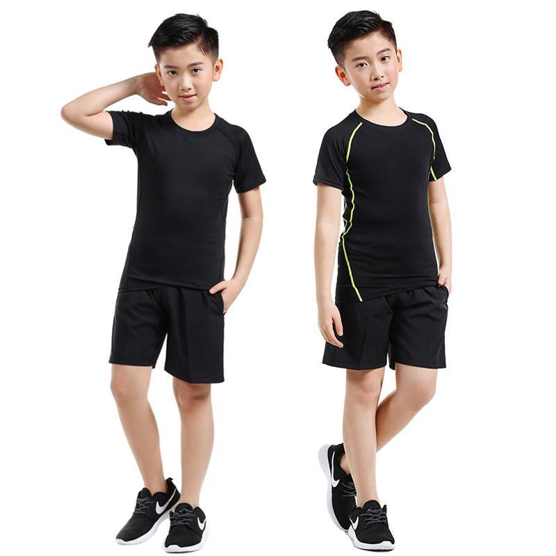 19 новых летних детских колготок скорость сушки с коротким рукавом костюм мальчик женский бег фитнес тренировочный костюм баскетбол одежда беговая одежда