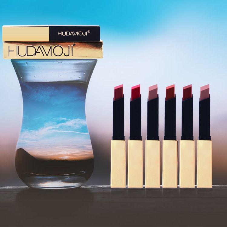방수 오래 지속 섹시한 빨간 립스틱 모지 립스틱 매트 메이크업 매트 lipsti N 2020 NEW 리틀의 골드 메이크업 광택 6 색