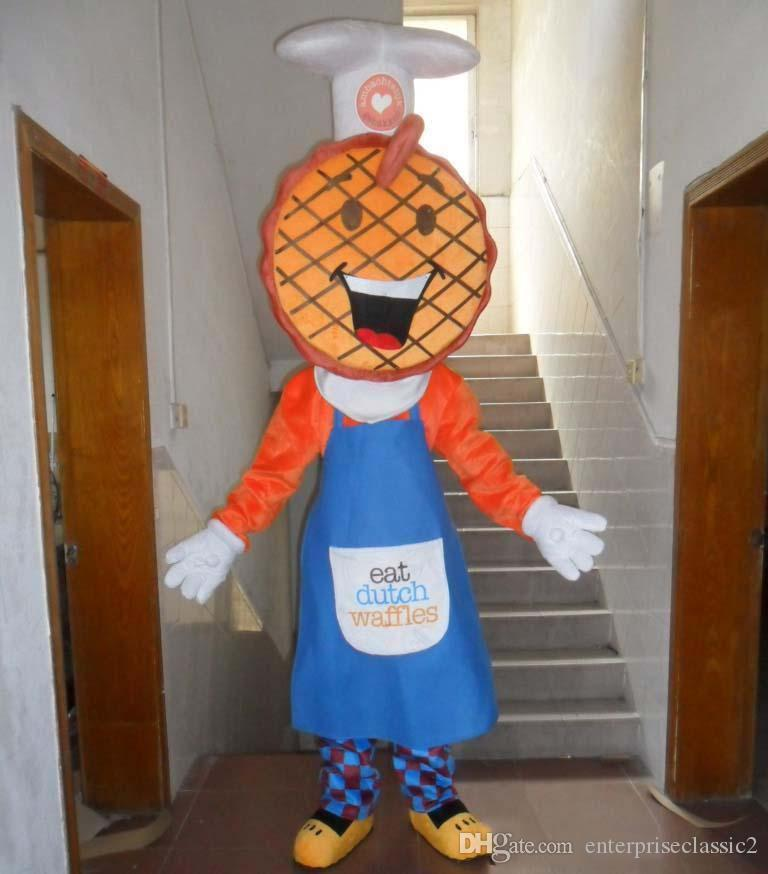 With one mini fan inside the head a waffle mascot costume for adult to wear0