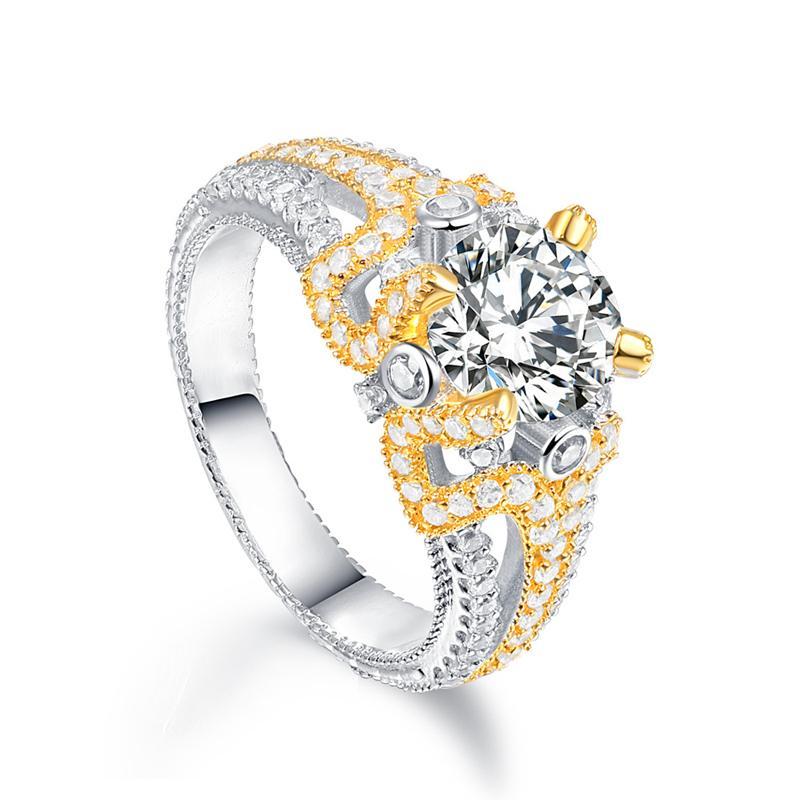 Top Quality Real 925 sterling sterling sterling frizzante cz anelli di nozze per le donne color oro colore pieno zircone gioielli gioielli regali