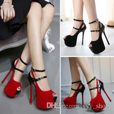 Night Club Sandals Prom Banquet Party sexy women Peep toes Shoes Super High Heels dressing Shoe Platform Stilettos Heel 16 cm with box