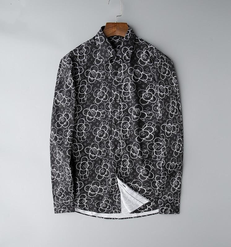 Новый горячий Европейский размер 2019 Мужчины Лучшие бизнес и развлечения Мода рубашки Тонкий с длинным рукавом Печать Medusa Криминал