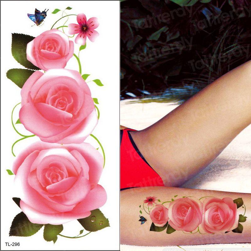 Beauté Fleur temporaire Femmes Tatouage Cuisse Leg Autocollants Filles Sexy transfert d'eau Tatouage Rose Pivoine Lotus Faux Tatoo Body Mains