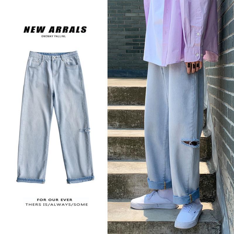 Verão rasgado Moda Sólidos Retro Casual Cor Hip Buraco Jeans Men Streetwear soltas Jeans Reta Men Hop Jeans Calças Mens