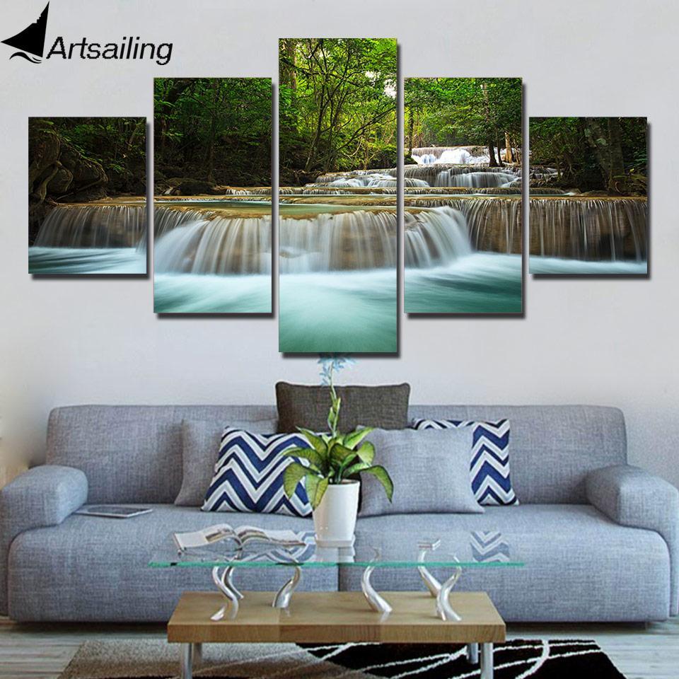Wall Art 5 pezzi cascata splendido scenario tela stampa parete Immagini per Living Room Decor XA2750C