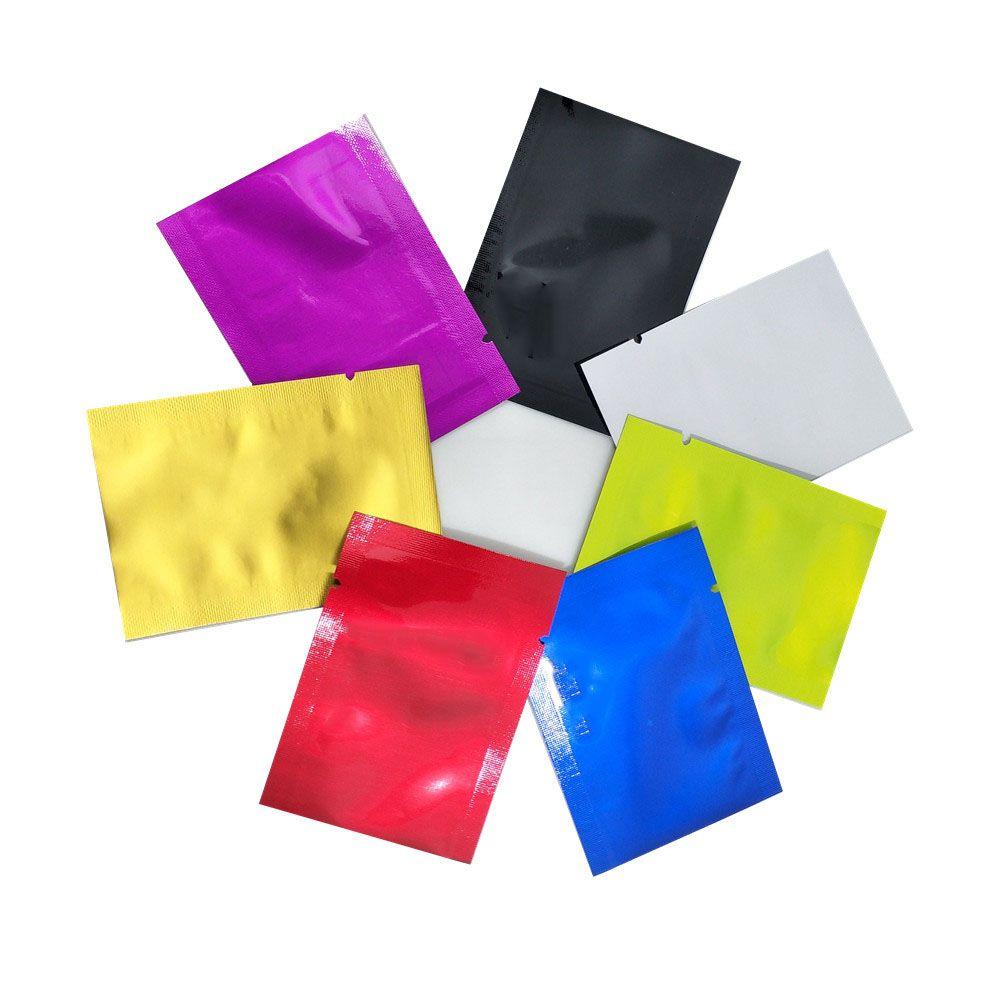 2000pcs Wholesale 5 * 7cm multi Farben Flach reine Aluminiumfolie Paket-Beutel Mylar Open Top Snack Heat Seal Retails Verpackungsbeutel