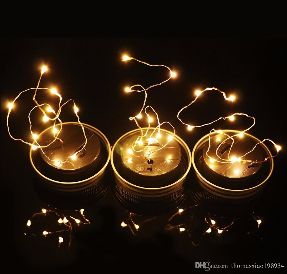 Solar Powered LED Mason Jars Light Up Lid 10 LED String Fairy Star Screw on Silver Lids for Mason Glass Jars Christmas Garden Lights
