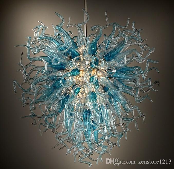 تخصيص اليد في مهب زجاج مورانو الثريا مصمم الفن الحديث ديكور زجاج LED لمبات توفير الطاقة ضوء قلادة للفندق الديكور