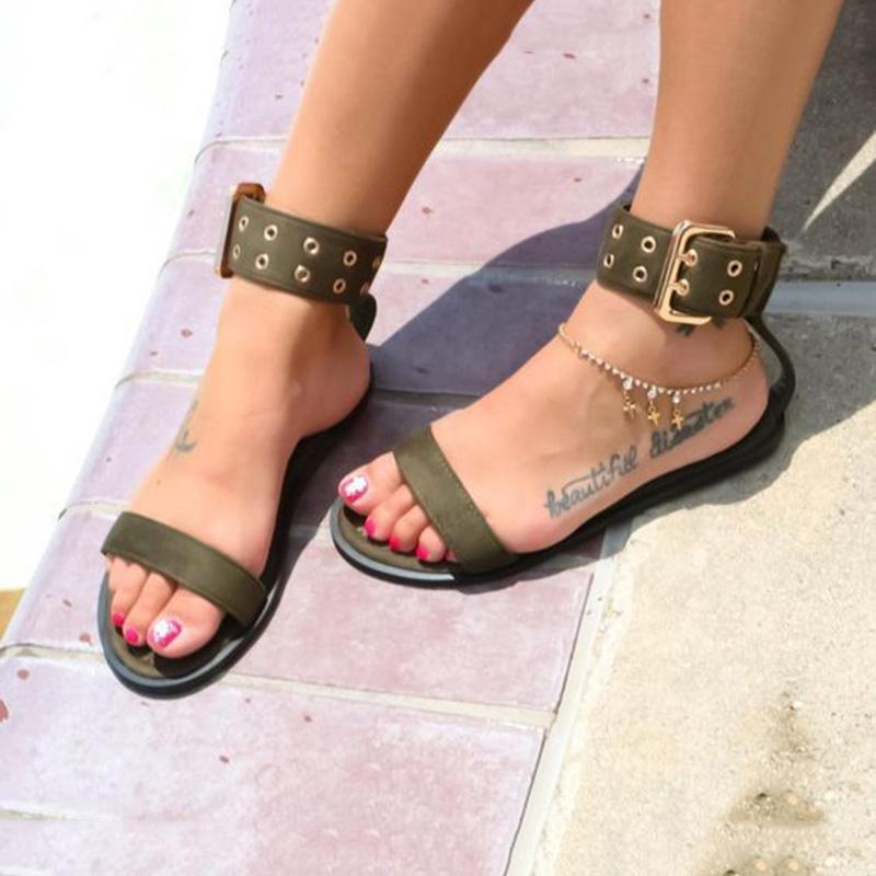 UK Womens Ladies Retro Gladiator Flat Sandals Summer Open Toes Beach Shoes Size