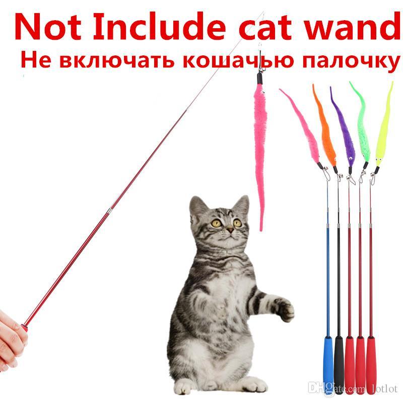 5pcs colorato pet gattino gatto teaser sostituzione ricarica peluche con campana formazione gatto teaser bacchetta giocattolo gatto ciondolo gatti prodotti