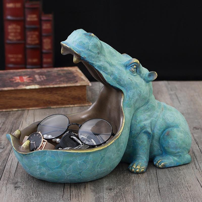 Europeo Resina Hippopotamus escursioni Storage Box ornamenti della decorazione fornire domestico Scultura Crafts Ufficio Accessori Figurine