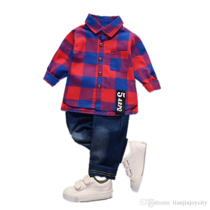 Little Boy 2 Peças Conjuntos Meninos Do Bebê Xadrez Camisa Calças Define Crianças Ternos Vermelho Verde Branco Nova Primavera Outono