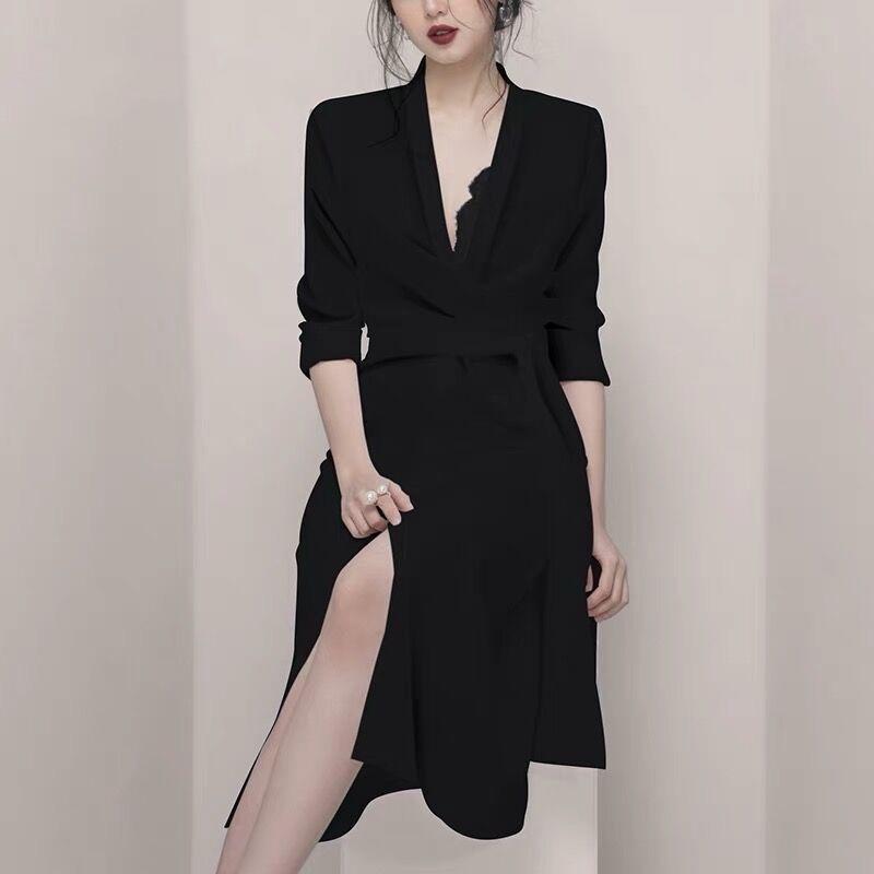 2020 الربيع مكتب الأعمال سيدة الأسود غير النظامية حزام ضمادة اللباس المرأة كم طويل الخامس عنق مثير سبليت العمل قميص ميدي اللباس