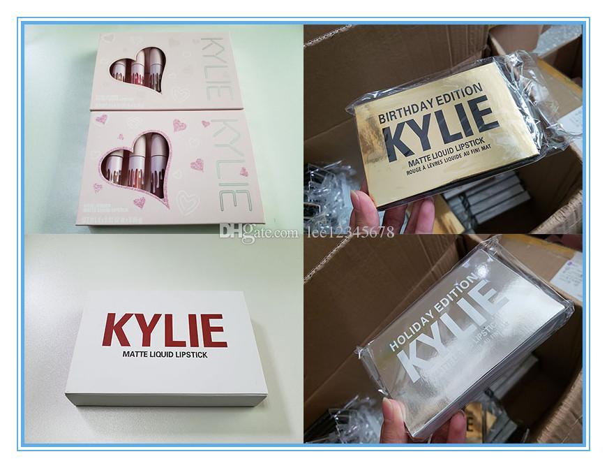 Kylie lipstick Birthday & pink & Valentine & holiday Edition lip Kit Kylie Lip gloss Matte Lipsticks collection Cosmetics 6pcs/set