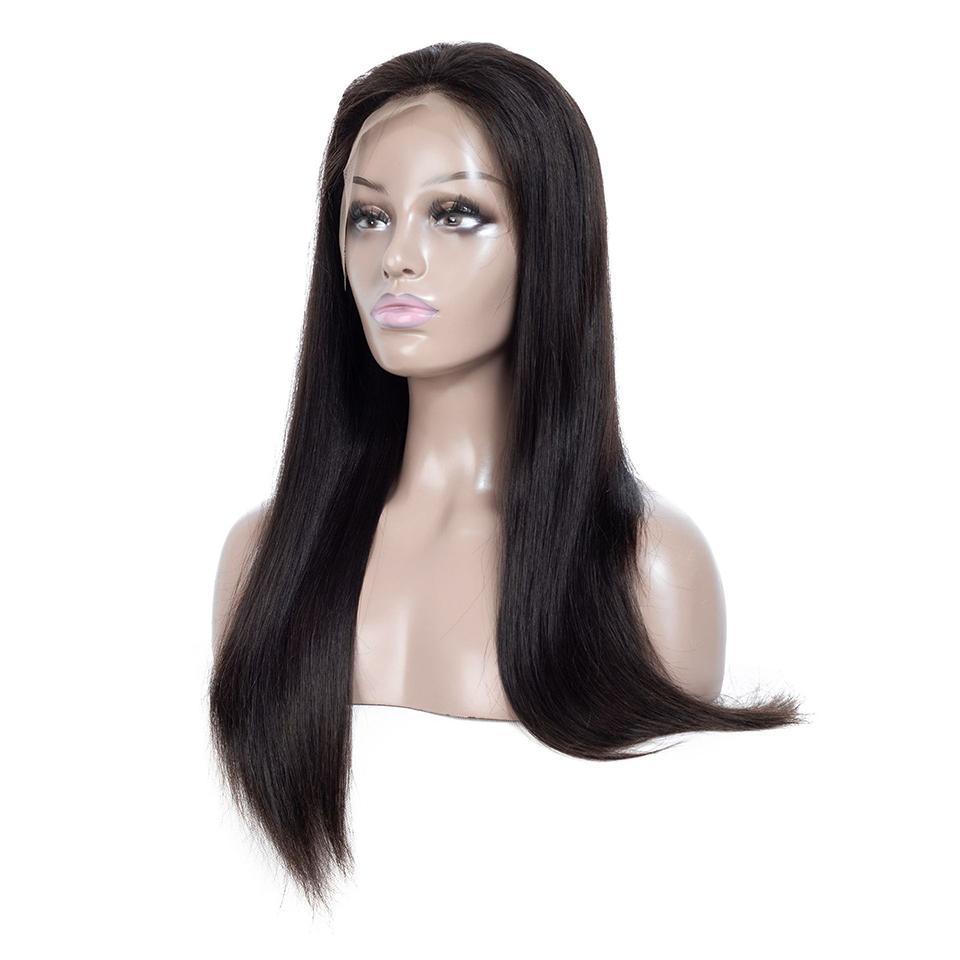 أسود # 1B طويل مستقيم الجبهة الرباط شعر مستعار حرارة الألياف مقاومة الاصطناعية الرباط الباروكة جبهة أسود / أبيض المرأة