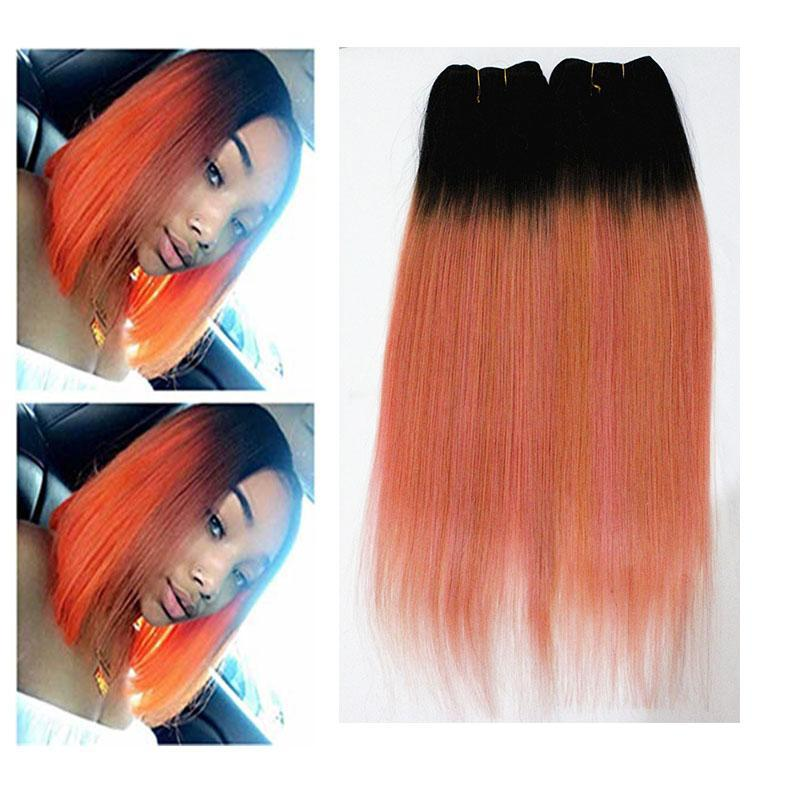 C Colorful Straight Hair Extrensions 3 Or 4 Bundles Brazilian 100 %Virgin Human Hair Weaves Ombre Two Tone Color 10 -18inch