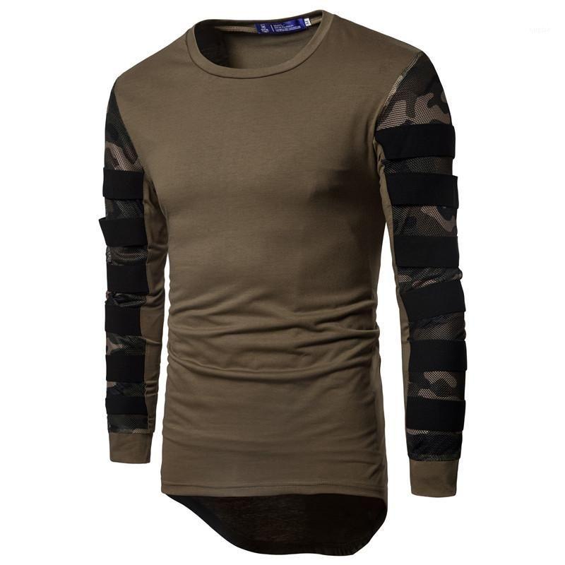 O-الرقبة المحملات ربيع القمم 19ss رجل الخريف بأكمام طويلة T مصمم قمصان التمويه