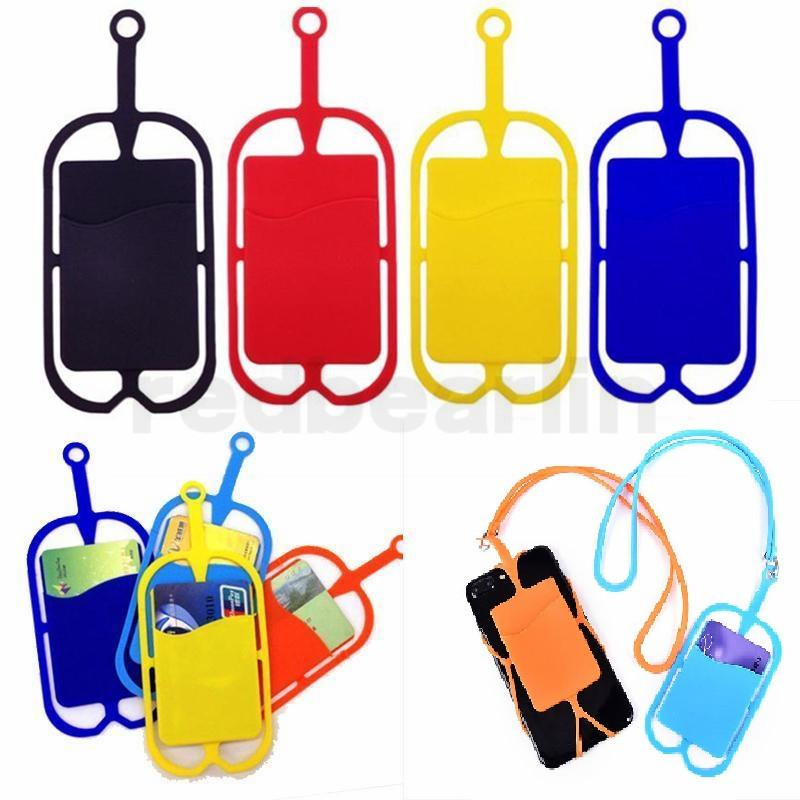 실리콘 방아 끈 목걸이 슬링 카드 홀더 스트랩 아이폰 삼성 화웨이 범용 휴대 전화에 대한 키 체인