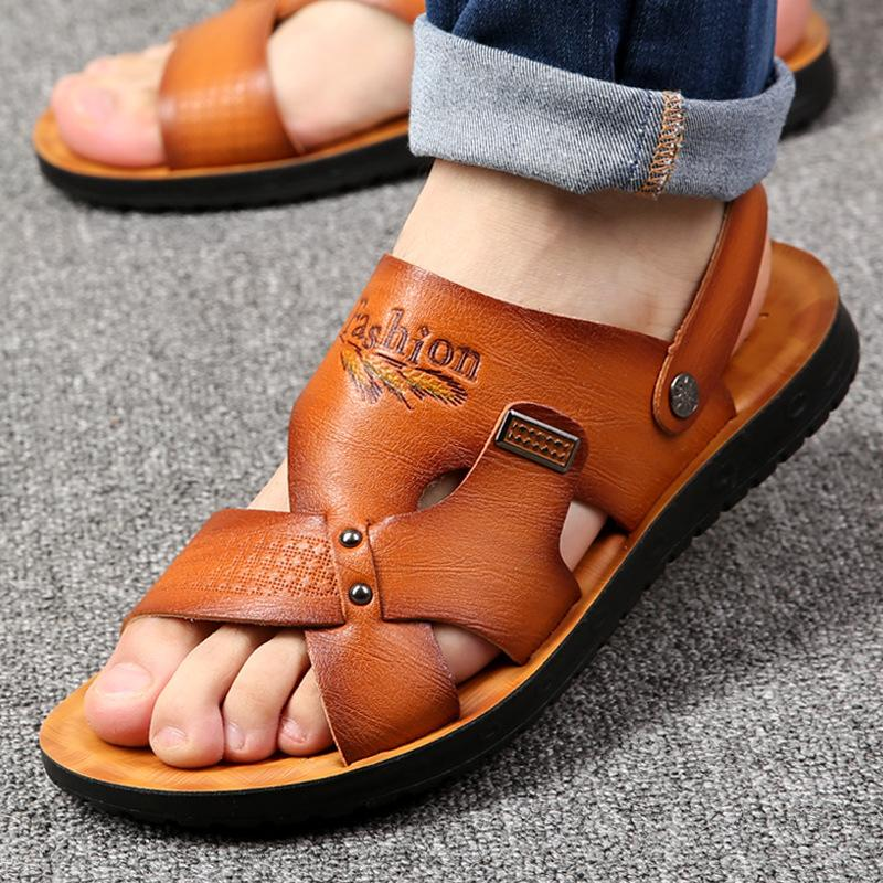Summer beach 2019 solid casual non-slip dual use sandals shoes ankle strap men slippers Sandalias Homb MX200617
