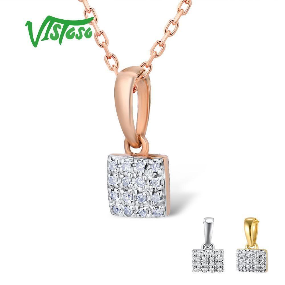 VISTOSO Gold Pendants For Women Authentic 14K 585 Rose White Gold Sparkling Diamond Simple Square Pendant Wedding Fine Jewelry