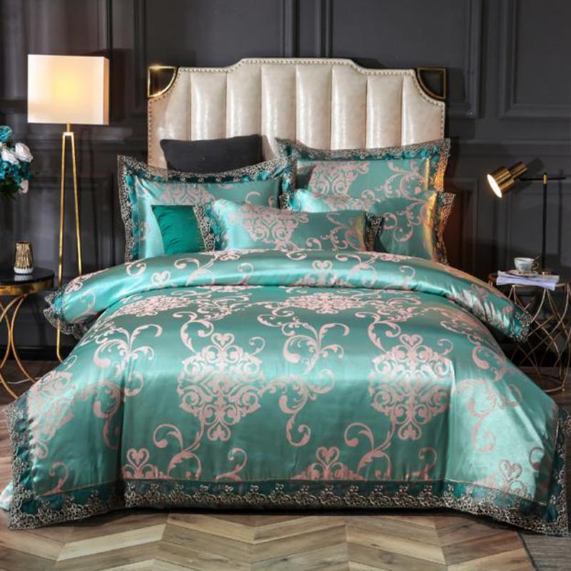 Fundamento luxuoso 4pcs SILIKOLOVE / Set cetim de seda jacquard Consolador Define edredon cobrir Set Lençois Linings casamento Home Textile