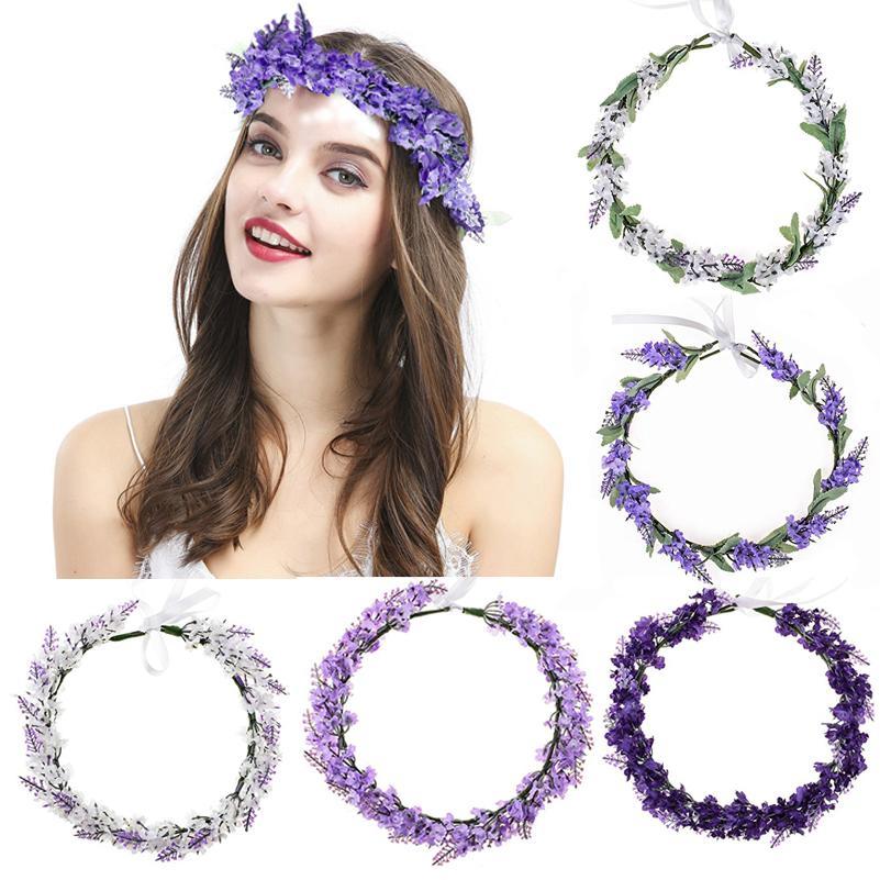 Flor ajustable Corona lavanda halo BOHO cintas para la cabeza de las niñas de la boda festival de la maternidad foto de la familia guirnalda del pelo Guirnalda