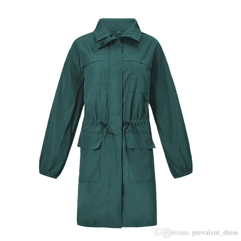 Outdoor Fashion Women Waterproof Clothing Warm Coat Europe and America Style Casual Full Sleeve Hooded Ladies Raincoat Jackets