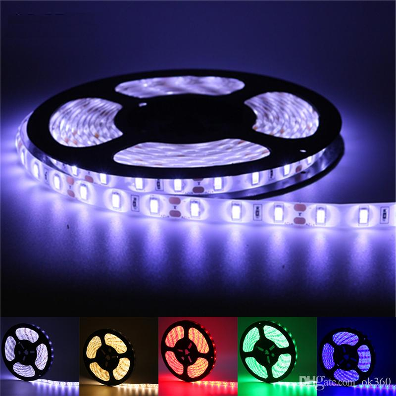 Super Bright 5m 5630 5050 3528 SMD 60led/m LED Strip Light Waterproof Flexiable 300LED Cool/Pure/Warm White/Red/Blue/Green 12V