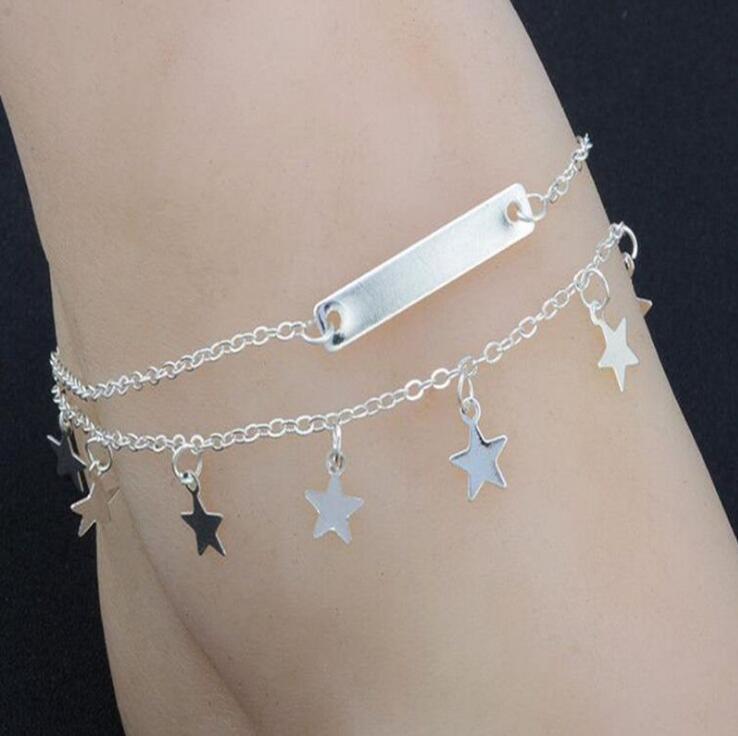 Multi Layer Summer Star Pendant Anklet Foot Chain Summer Yoga Leg Bracelet Sequin Charm Beach Jewelry Women Fashion Pentagram Boho Gift