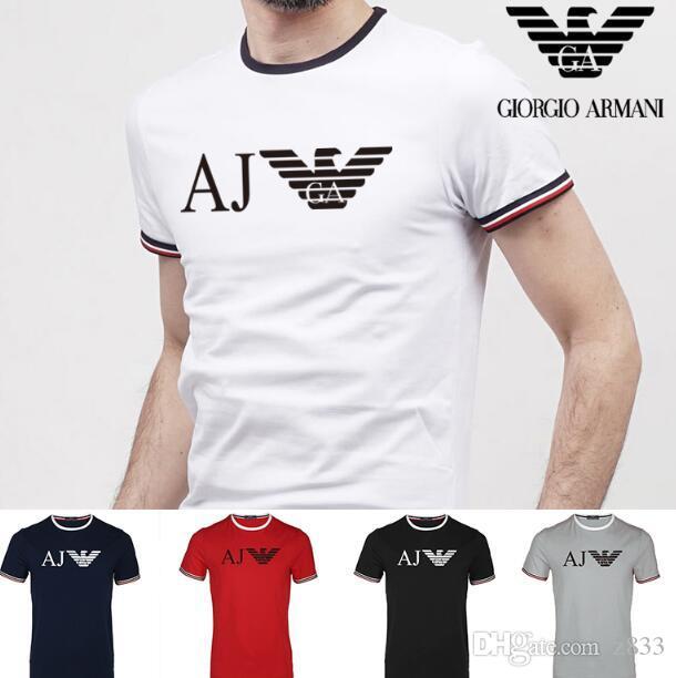 Nuevo deporte de la manera camiseta de los hombres del verano del o cuello para hombre manga corta t camisas bordadas de algodón camisetas de los hombres 2019