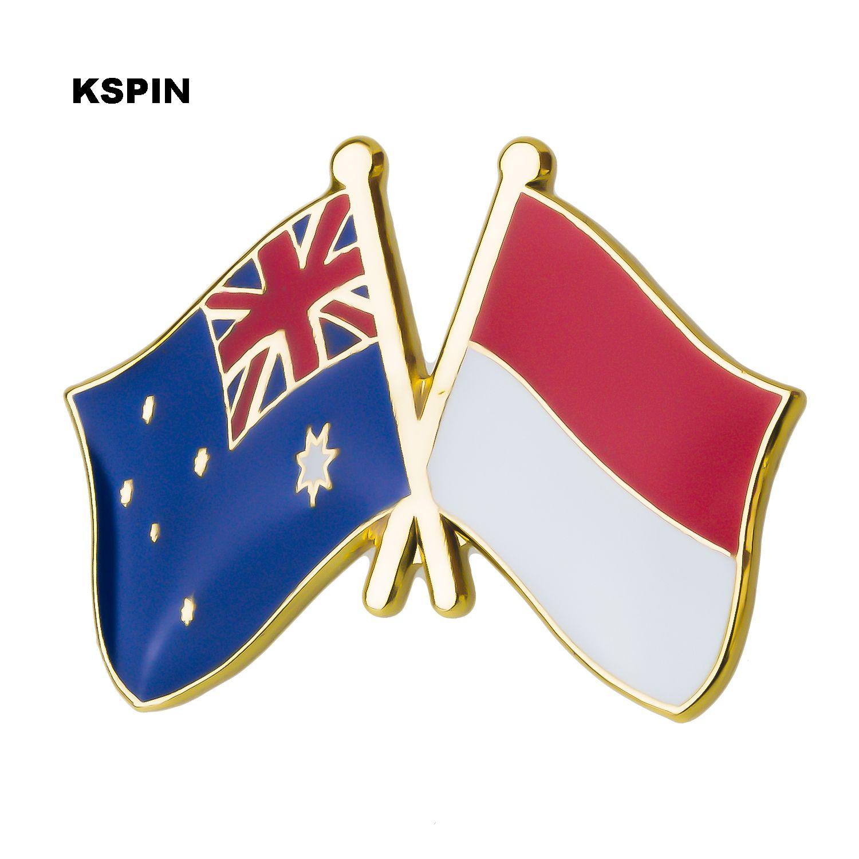 호주 인도네시아 우정 플래그 레이블 핀 배지 배지 아이콘 가방 장식 단추 브로치 옷 XY0279