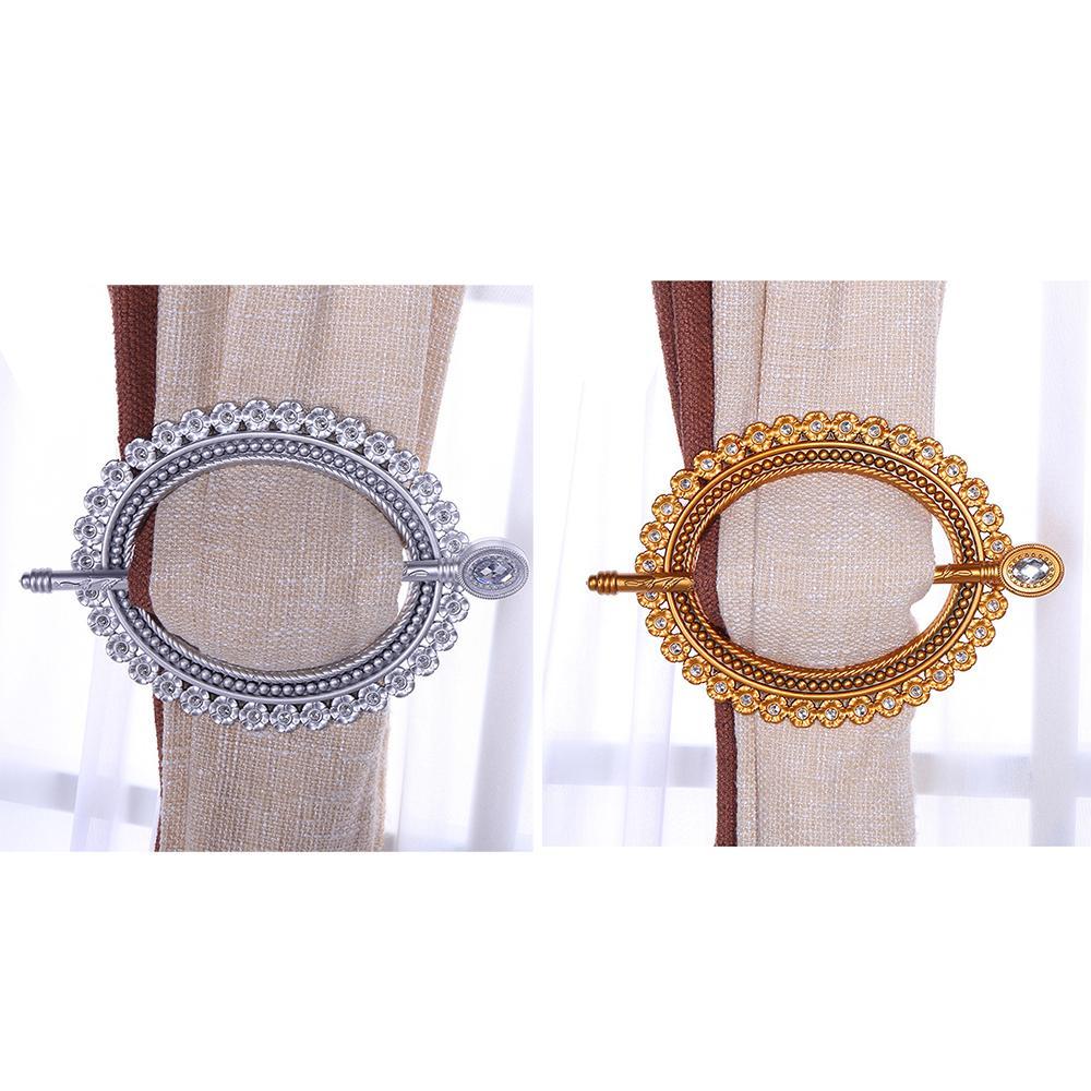 2pcs Luxury Diamond Window Curtain Brooch Tie Back Clip Buckle Holder Decoration