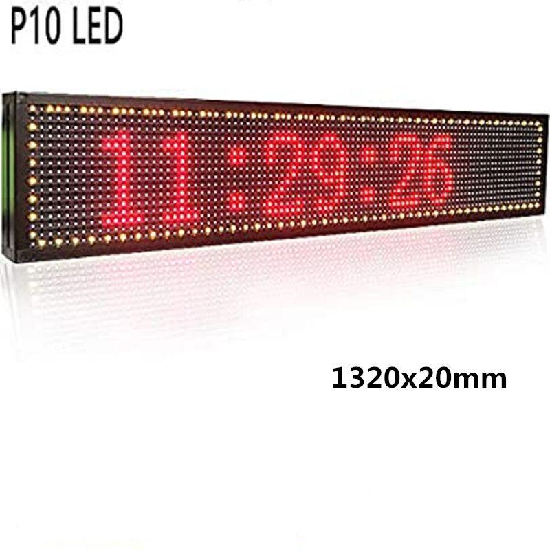 광고 미디어 야외 LED 디스플레이에 대한 52''x8 ''인치 1/4 스캔 RGB P10 풀 컬러 LED SIGN 지원 USB 컴퓨터 와이파이 편집