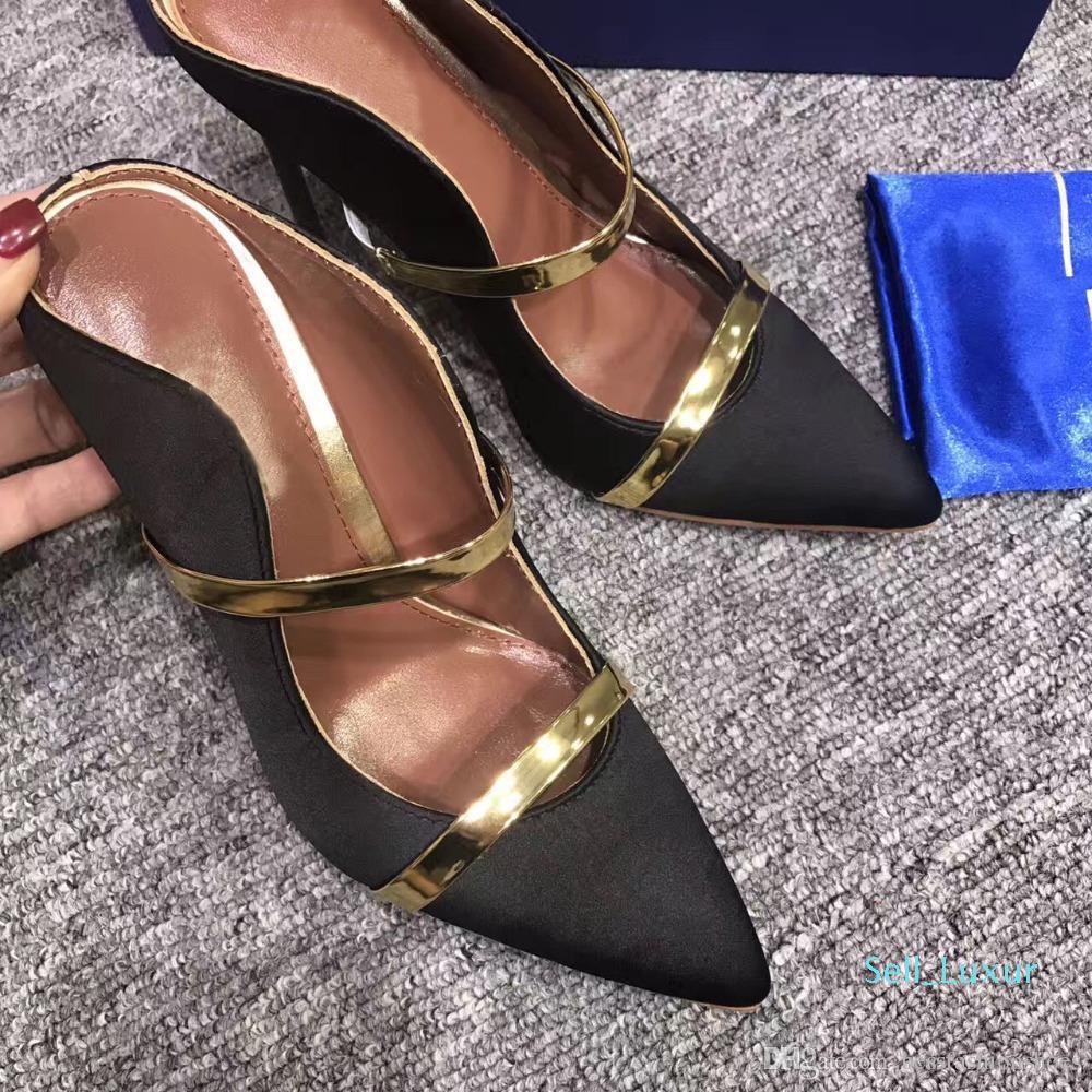 Vestidos Sexy High Heel seda preta Mulheres Sapatos de couro mulas Pointed Toe deslizamento-em sapatas dos saltos altos New Mulheres vestido de festa Moda Shoes