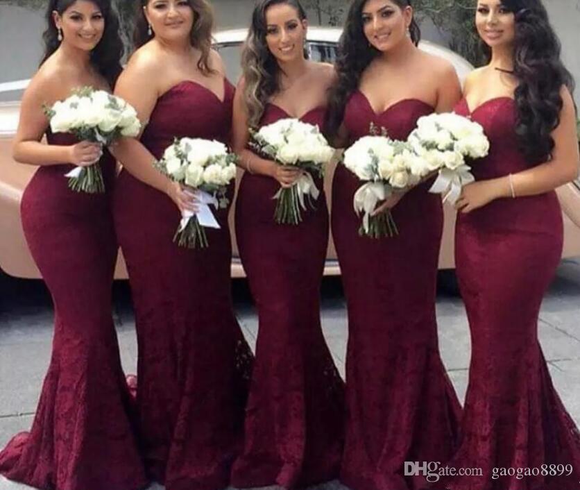 Elegante Borgogna Sweetheart Lace Mermaid economici abiti da damigella d'onore 2019 Wine Maid of Honor Wedding Guest Dress Prom Abiti da festa