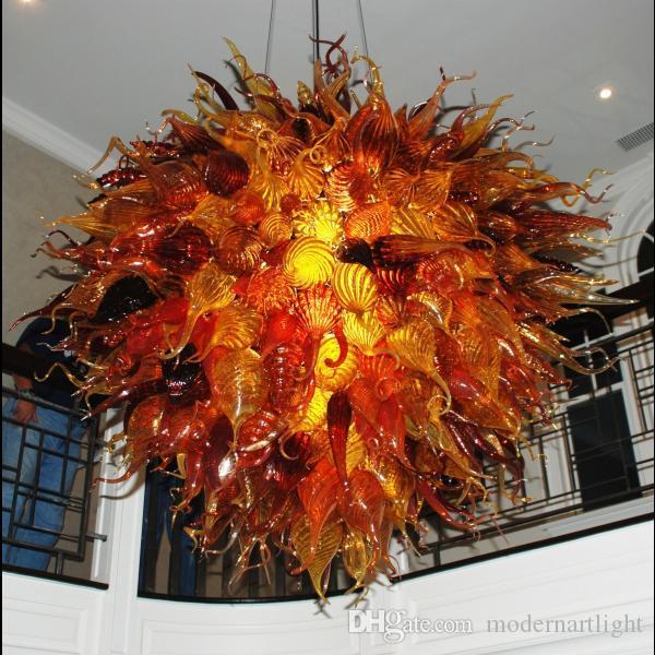 100% soufflé par la bouche 110v / 120v LED d'ampoules de mode cristal plafond multicolore éclairage de lustre en verre de Murano