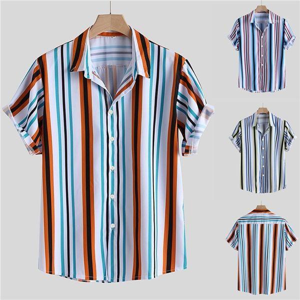 Encienda la moda transpirable rayada Down cuello manga corta sueltos camisas de trabajo camisas ocasionales Nueva otoño blusa superior de camisas del Mens