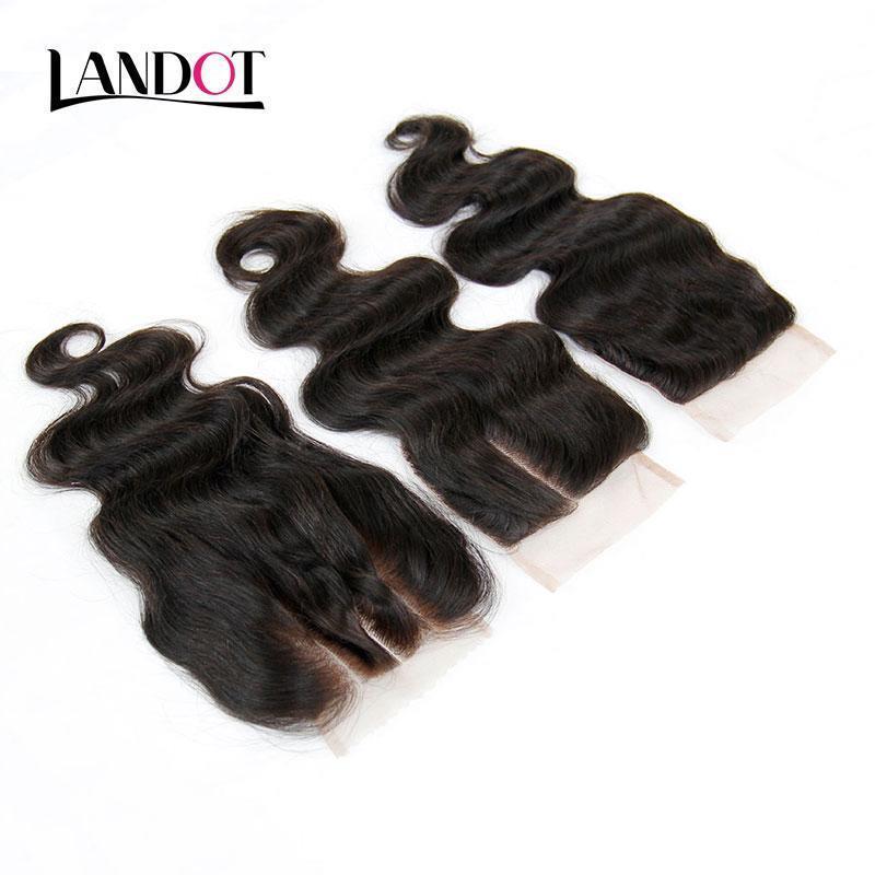 Cambojano onda do corpo Virgin cabelo Lace Encerramento gratuito Médio 3 Parte cambojano Humano Closures Cabelo Tamanho 4x4 Inch Top Lace Closures Preto Natural