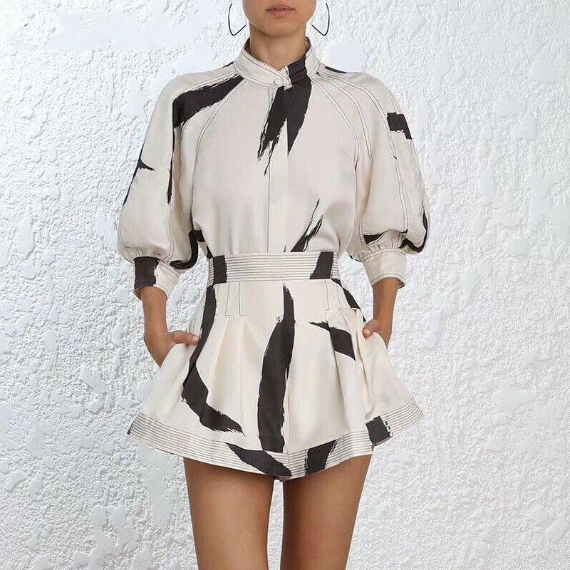 2019 Sommer-Runway Designer Ink Art gedruckte Frauen Tops beiläufige kurze Hülsen-Gürtel Bluse Shirt + High Waist Shorts Set 2-teiliges Set
