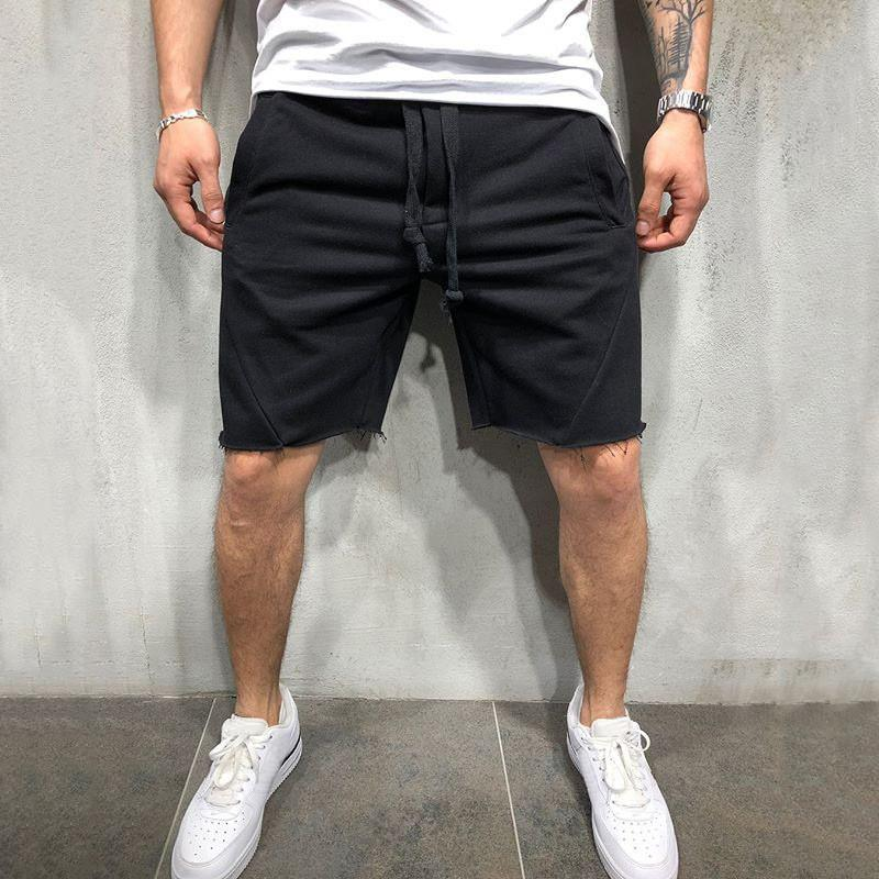 Модные спортивные шорты мужские новые фитнес-брюки мужские сплошной цвет работает шорты случайные спортивные тренировочные брюки Размер S-3XL-2