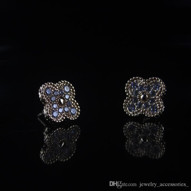 Diamant-kleiner Ohrring-Frauen-925 silberner Klipp auf Ohrstecker Blumen Anhänger Valentinstag Fine Jewelry