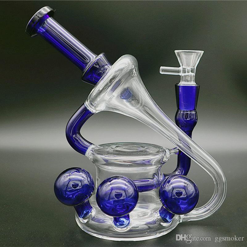 """8"""" tubo dell'acqua bong vetro riciclatore telescopio 14 mm acqua incastro femmina bong riciclatore olio bong vetro rig"""