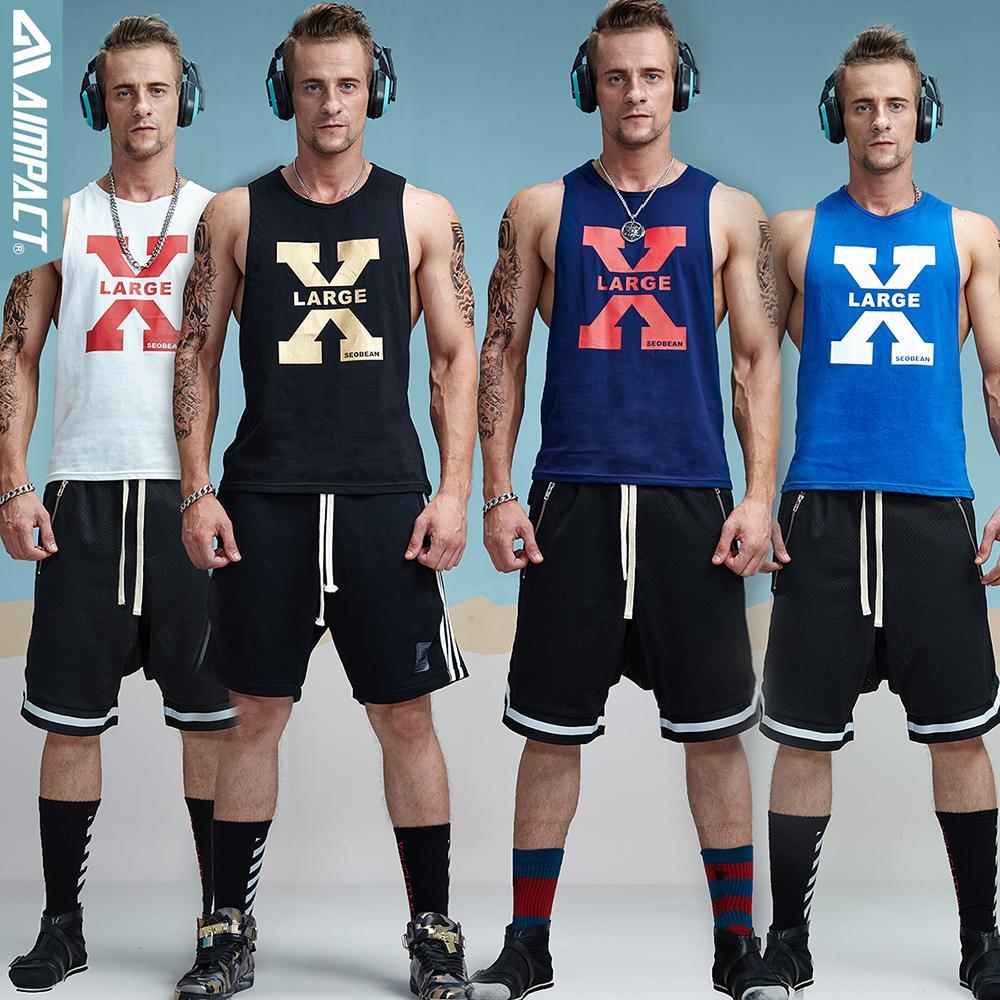 Aimpact Cotton Mens Tank Tops 섹시한 피트니스 보디 빌딩 통기성 여름 싱글 상품 슬림 장착 남성 S Tees Crossfit Tee Xb13