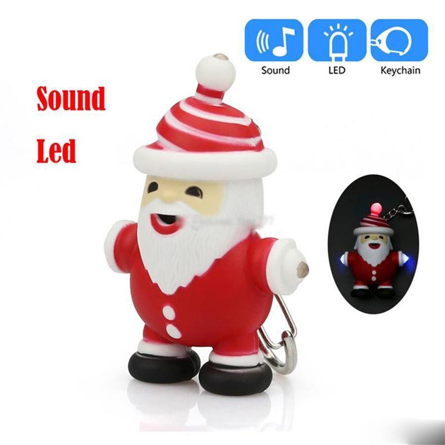 Neuheit Aufleuchten-LED Licht-blinkende Spielzeug Weihnachtsmann-Karikatur-Schlüsselanhänger mit LED-Licht-Ton-Keyfob Kinder Kinder Luminous Geschenke Kinder Spielzeug
