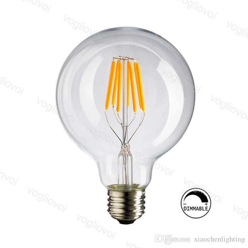 Lâmpadas LED G125 Dimmable 4W 6W 8W Filamento Vidro Clear E27 360 Criatividade Retro para Crystal Chandeliers Luzes de Tabela de Assoalho Pingente DHL